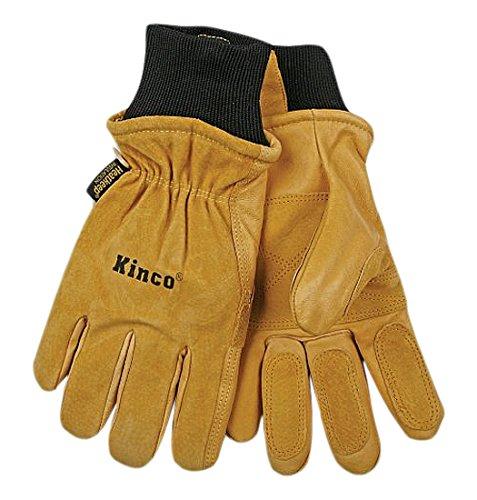 KINCO 901-M Men's Pigskin Leather Ski Glove, Heat Keep Thermal Lining, Draylon Thread, Medium, Golden by Kinco