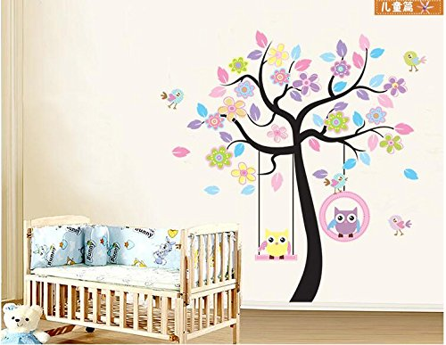 LINFON Huge Family Removable DIY Paper Swing Owl Tree Wall Decal Tree Branch & Leaves Wall Decal Sticker Art Stickers Vinyl Decals Home Decor Include birds for Living Room&bedroom (Colorful)