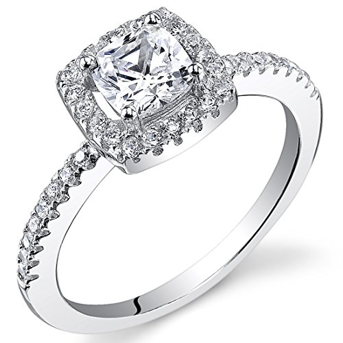 Cushion Cut Micro Pave Engagement Ring Sterling Silver Cubic Zirconia 0.86 Carats Size 7