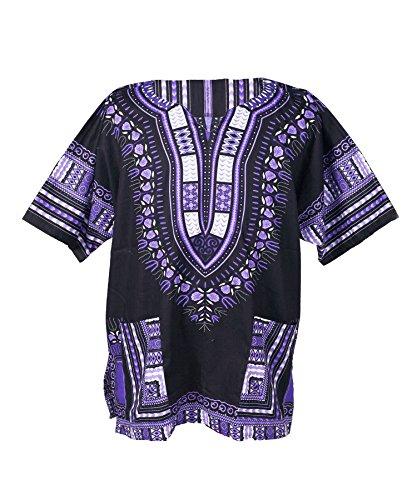 Lofbaz Traditional African Print Unisex Dashiki Size XXXXXL Black and Purple by Lofbaz