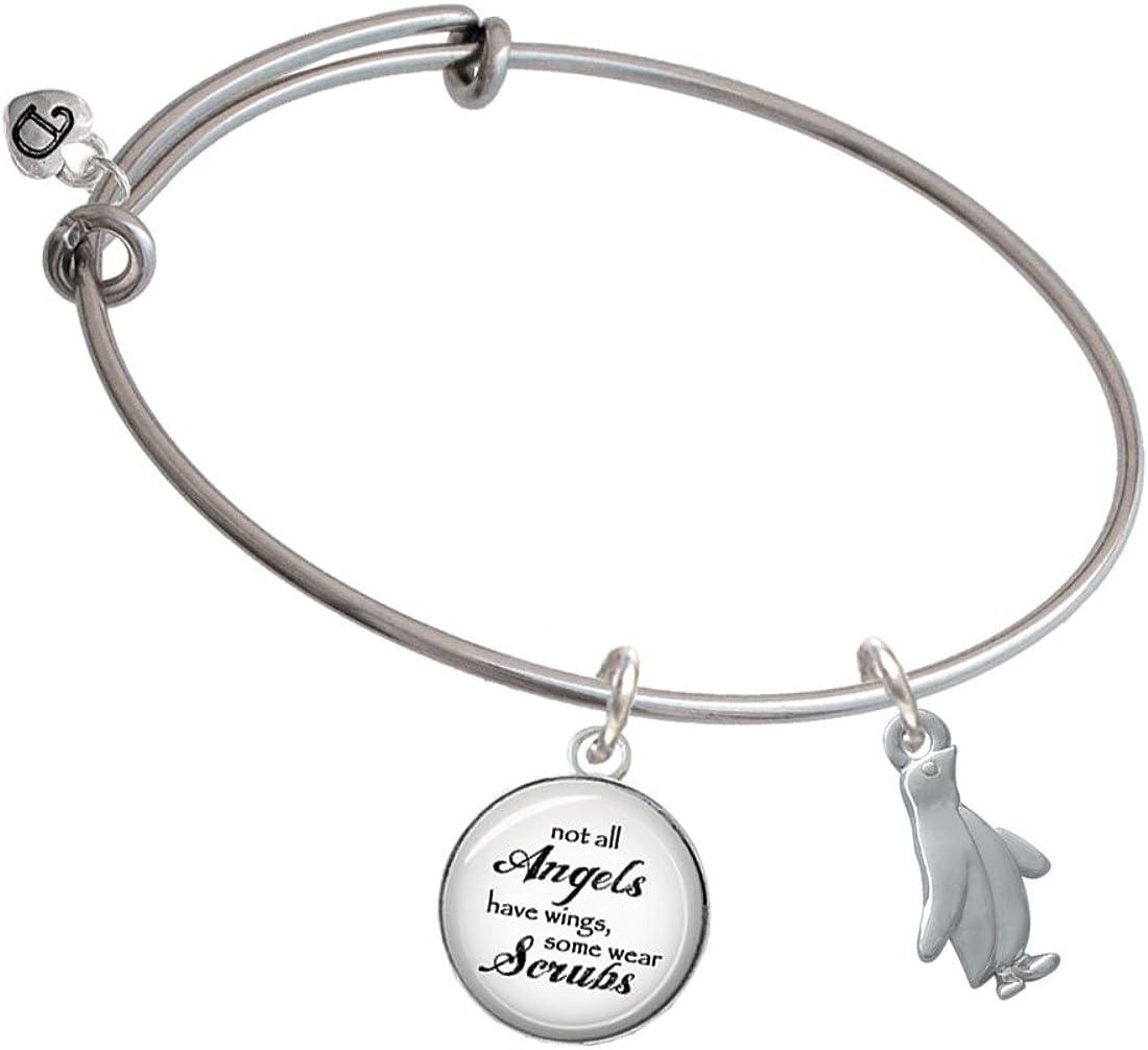 Delight Jewelry Silvertone 2-D Penguin Angels Wear Scrubs Bangle Bracelet