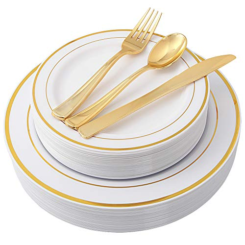 100 Piece Gold Plastic Plates with Gold Silverware, Premium Plastic Dinnerware Set Includes : 20 Dinner Plates, 20 Dessert Plates, 20 Forks, 20 Knives and 20 Spoons (gold dinnerware set)]()