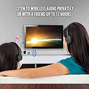 TV Bluetooth Wireless Headphones Connection Kit by GOgroove - BlueVIBE 2 TV - Easy Setup, Lightweight Ear Pads, Includes Televison Audio Transmitter Adapter - Ideal for Private Watching & Listening