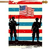 Cheap ShineSnow American Flag Veterans Day Soldier House Flag 28″ x 40″ Double Sided, Polyester Memorial 4th of July Welcome Yard Garden Flag Banners for Patio Lawn Home Outdoor Decor