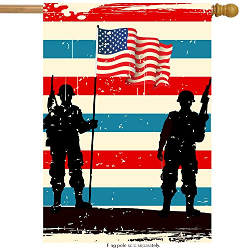 (ShineSnow American Flag Veterans Day Soldier House Flag 28