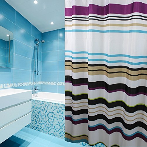 teal striped shower curtain. Ufaitheart Stripe Decorative Fabric Shower Curtain 72  x Mildew Free Water Repellent Bathroom Set Multi Colored White Purple Black and Striped Amazon com