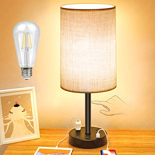 USB Table Lamp,Touch Control Lamp with 3 USB Charging Ports and 2 AC Outlets,3 Way Dimmable Bedside Nightstand Lamp with Grey Fabric Shade forBedroom, Living Room, Hotel(8W LED Bulb Included)