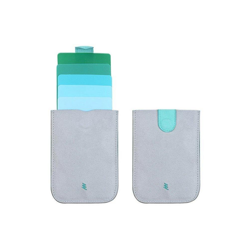 Dax Wallet V2 - Slim Pull-Out Design Canvas Wallet Credit Card Holder Case For 5 Cards, Mini Slim Card Holder Purse (Grey Green)