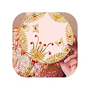 Bride Hand Fans Chinese Style Red Flowers Bridal Wedding Bouquet Fan Ancient Cover Face Round Bouquets 2019,Style B 73