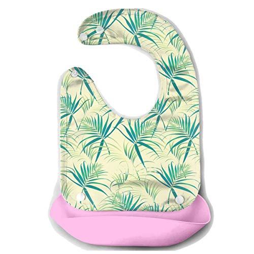 Waterproof Baby Super Bib Feeding Roll-up Bibs Coconut Leaves Watermark Silicone Bib For Babies&Toddlers