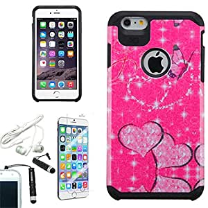 [ARENA] PINK HEART BUTTERFLY GLITTER HYBRID COVER HARD GEL CASE for APPLE IPHONE 6 PLUS + FREE ARENA ACCESSORIES