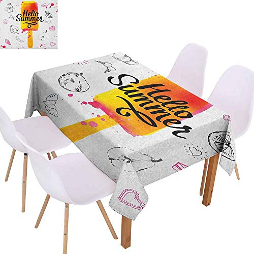 - Stain-Resistant Tablecloth Ice Cream Hello Summer Motivational Quote with Lime Heart Sun Cake Color Splashes Image Picnic W60 xL84 Multicolor