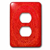 3dRose David Zydd - Floral Mandalas - Fire Flower Mandala - red abstract floral graphic - Light Switch Covers - 2 plug outlet cover (lsp_286852_6)