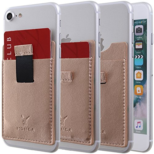 c79f8329b868 Monca [Pull Tap] Genuine Leather Credit Card Holder Stick on Wallet  Discreet ID Holder Card Sleeves iPhone 6s 7 Plus Samsung Galaxy S8 and Blu  ...