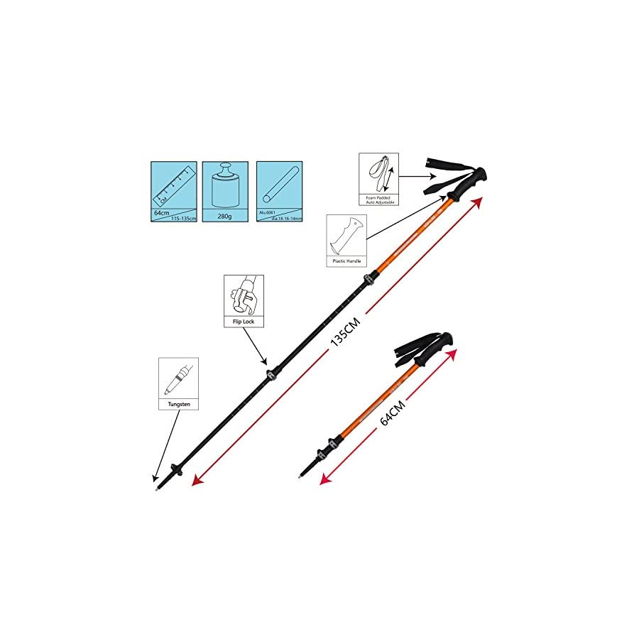 G2 GO2GETHER Trekking Poles Telescopic Aluminum Alloy (Pack of 2 Poles) (Orange & Black)