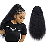 AISI QUEENS 22' Long Drawstring Ponytail Synthetic Corn Wave Black Ponytail Extension Hairpiece Long Wavy Clip on Ponytail for Women (Color: 1B#)