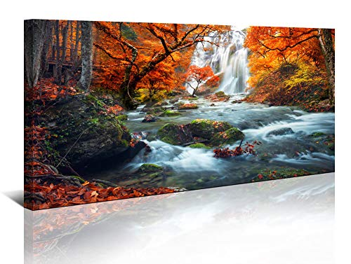 (Wall Art for Bedroom Living Room Framed Canvas Print Wildlife Waterfall Stream Tree Maple Leaf Autumn Landscape Contemporary Artwork Home Office Decoration)