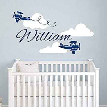 Delicieux Airplane Wall Decal   Clouds Name Vinyl Sticker Personalized Custom Name  Biplane Clouds Wall Decals Plane