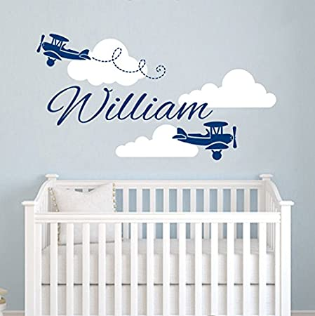 Airplane Wall Decal   Clouds Name Vinyl Sticker Personalized Custom Name  Biplane Clouds Wall Decals Plane