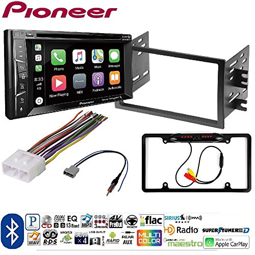 Pioneer AVH-1400NEX Double DIN Apple CarPlay In-Dash DVD/CD/AM/FM Dash Stereo Mounting Kit w/Harness & Antenna Install for Nissan Frontier Car License Plate Rearview Camera