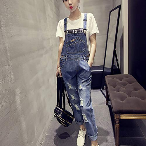 Ripped JullyeleFRgant Long Femmes Light Denim Overalls Hole Pantalon Pants avec Rglable Pantalon Personnalit Jeans Bretelle Combinaison Blue Casual q0Hwq1