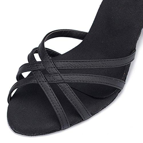 Tda Dames Enkelbandje Leren Gesp Sexy Latin Dansschoenen Tango Ballroom Salsa Schoenen Zwart