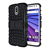 eCosmos Defender Tough Hybrid Armour Shockproof Hard PC + TPU with Kick Stand Rugged Back Case Cover for Moto G Plus 4th Gen ( G4 Plus / G 4th Generation ) - Black