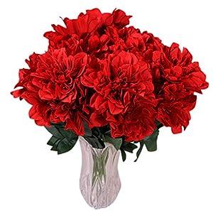 6 Head Dahlia Artificial Flowers Fake Floral Wedding Bouquet Glorious Decal Home Decoration 12