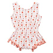 Canis Newborn Baby Girls Full of Flamingo Pom Pom Romper Sleeveless Bodysuit (12-18M, White)