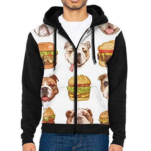 QWZXE MenFrench Bulldog Burger Full Zip Up Hooded Sweatshirt with Pocket Black