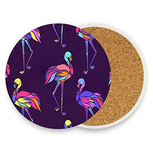 Colorful Flamingos Coasters, Prevent Furniture From Dirty And Scratched, Round Drink Coasters Set Suitable For Kinds Of Mugs And Cups, Living Room Decorations Gift Set Of 4 ()