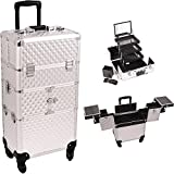 Sunrise I3564DMSL Silver Diamond 3 Tiers Accordion Trays 4 Wheels Professional Rolling Aluminum Cosmetic Makeup Craft Storage Organizer Case and 3 Tiers Extendable Trays with Mirror and Brush Holder