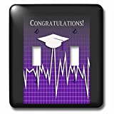Beverly Turner Graduation Design - Medical Theme, Congratulations, Heart Beat Graph, Grad, Cap, Purple - Light Switch Covers - double toggle switch (lsp_234544_2)