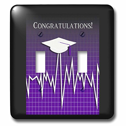 Beverly Turner Graduation Design - Medical Theme, Congratulations, Heart Beat Graph, Grad, Cap, Purple - Light Switch Covers - double toggle switch (lsp_234544_2) by 3dRose