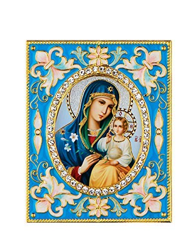 Russian Table Decorations (Religious Gifts Eternal Bloom Madonna and Child Desk Wall Russian Icon Pendant 3 Inch,)