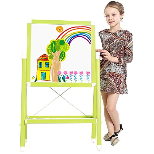 Childrens Drawing Easels (Kids Art Easel,SUOCO Multifunctional Drawing Board,Double Sided 360 Degrees Adjustable Standing Magnetic Easel with Dry-erase Board, Chalkboard-Green Color)