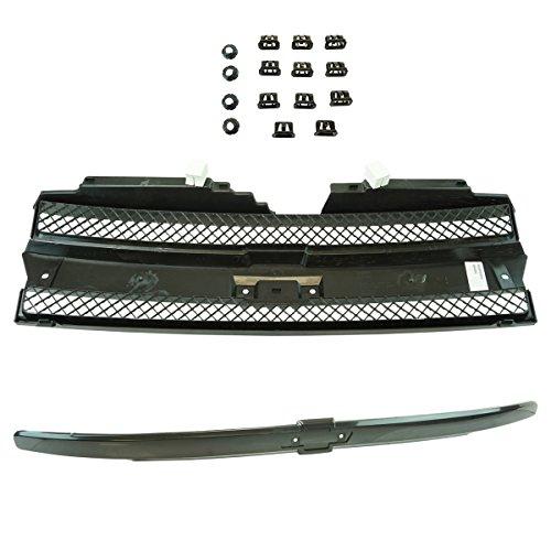 Grille Grill with Black Center Bar Kit Set for Chevy Trailblazer Trailblazer EXT (Grill For A Trail Blazer)