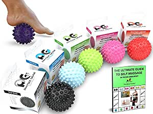 PHYSIX GEAR SPORT Spiky Massage Balls - Best Muscle Roller for Plantar Fasciitis, Foot Reflexology, Trigger Point & Back Pain - Top Rated Deep Tissue Roller for Acupressure Therapy (Spiky Purple)