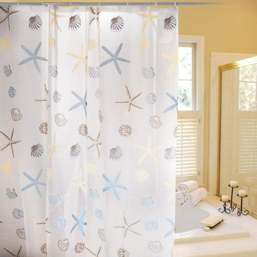 Stylish Living Elegant PEVA Bathroom Shower Curtain Liner for Home / Traval / Hotel with Hooks, Clear with Starfish , Conch and Shell Curtain for Kids, 72 Inches X 72 Inches
