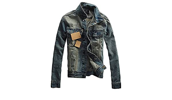 Pajamasea Mens Denim Turn-Down Collar Slim Fit Jacket Coat at Amazon Mens Clothing store: