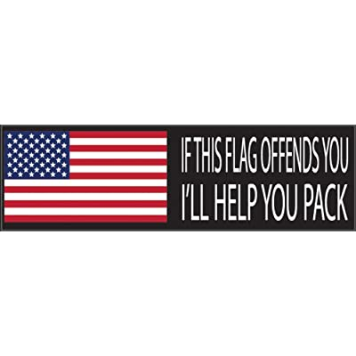 Rogue River Tactical 10x3 Patriotic Bumper Sticker Auto Decal If My Flag Offends You I'll Help You Pack USA Flag America Freedom is Not Free (Ill Help You Pack): Automotive