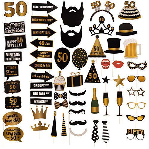50th Birthday Photo Booth Props - 60-Pack Birthday Party Supplies, Selfie Props, Party Favors for Cocktail Parties, Black and Gold