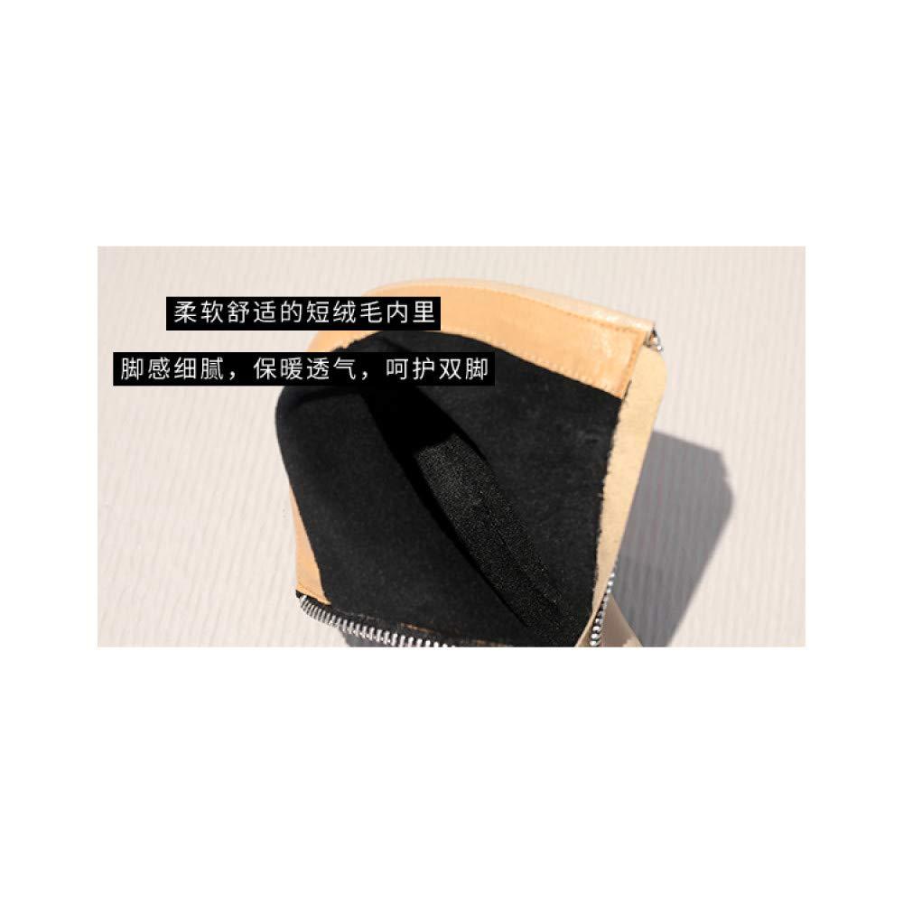 Qingchunhuangtang Vorderer Reißverschluss Stiefelies weiblich dick Martin mit Herbst und Winter Martin dick Stiefel weibliche British Wind Kurze Schlauch Wildstiefel b8061b