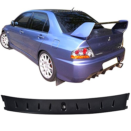 Roof Spoiler Fits 2003-2008 Mitsubishi Lancer | Vortex Style Black ABS Added On Lip Wing Bodykits Body kit by IKON MOTORSPORTS | 2004 2005 2006 2007