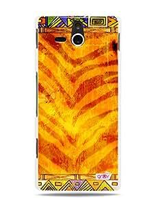 GRÜV Premium Case - 'Tiger Stripes African Ancient Tribal Pattern' Design - Best Quality Designer Print on White Hard Cover - for Sony Ericsson Xperia U ST25i