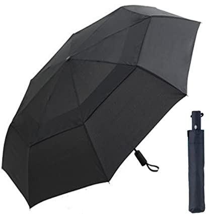6a2e50b54b29 CNHY Travel Umbrella Folding Large Automatic Golf Umbrellas Windproof 57  inch Double Crown Cover Compact Easy Touch Auto Open Close Sturdy Portable