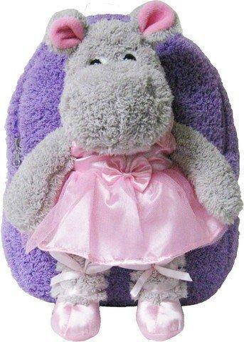 Kreative Kids 8250 Lavender Ballet Hippo Plush Backpack Detachable Stuffed Toy Hippo Tutu