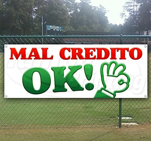 MAL CREDITO 13 oz Heavy Duty Vinyl Banner Sign with Metal Grommets Flag, New Store Advertising Many Sizes Available