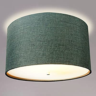 "16"" Moderne Flush Mount Converter Kit By Home Concept Granite Grey Burlap Hardback Drum Lampshade 16""x16""x8"""