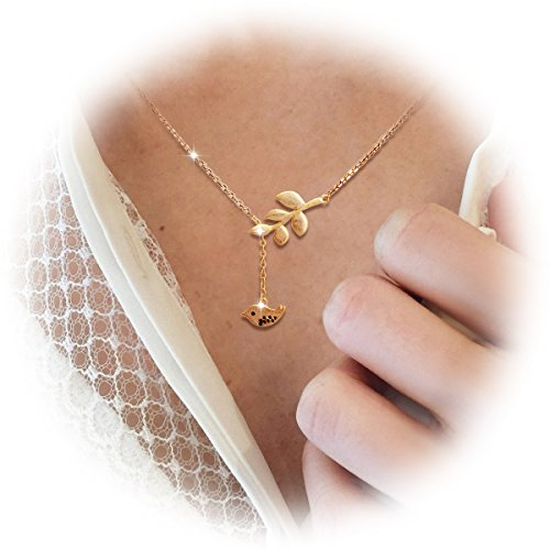 (SHEGRACE Nice 925 Sterling Silver Lariat Necklace, 24K Gold Plated, with Twig and Bird Pendant, Golden)